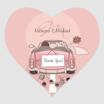Cute Bride & Groom Pink Getaway Thank You Stickers