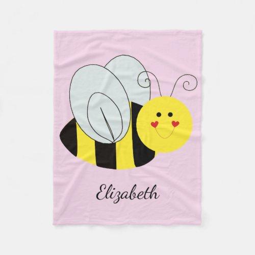 Cute Bumble Bee Add Name Fleece Blanket