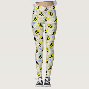 Cute Bumble Bee Pattern Leggings
