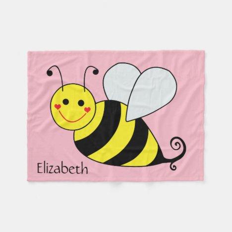 Cute Bumble Bee Personalized Fleece Blanket