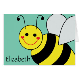 Cute Bumble Bee Personalized Greeting Card