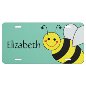 Cute Bumble Bee Personalized License Plate