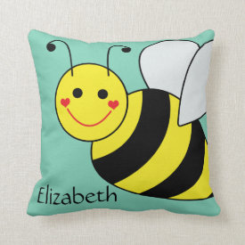 Cute Bumble Bee Personalized Pillow