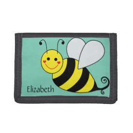 Cute Bumble Bee Personalized Trifold Wallets