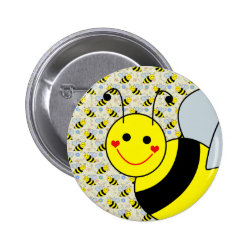 Cute Bumble Bee Pinback Button