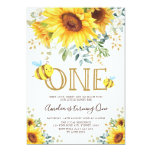 Cute Bumble Bee Sunflower Summer 1st Birthday Invitation