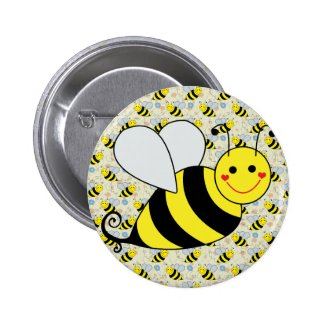 Cute Bumble Bee with Pattern Buttons