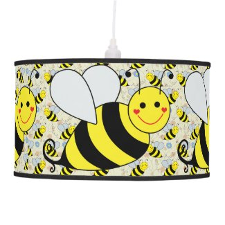 Cute Bumble Bee with Pattern Hanging Pendant Lamp