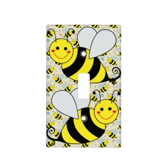 Cute Bumble Bee with Pattern Light Switch Covers