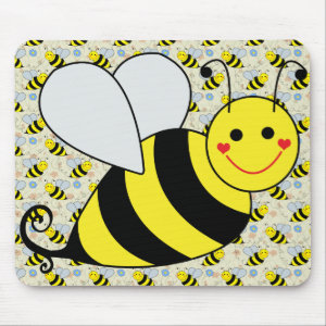Cute Bumble Bee with Pattern Mouse Pad
