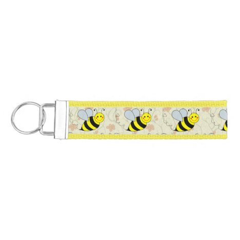 Cute Bumble Bee with Pattern Wrist Keychain