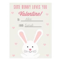 Cute Bunny Classroom Valentine Postcard