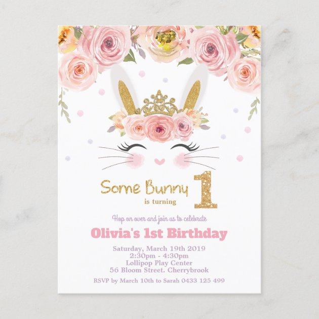 cute bunny rabbit 1st birthday pink floral invitation postcard zazzle com