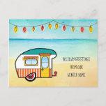 Cute Camper on Beach Winter Home New Address Announcement Postcard