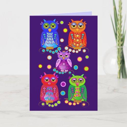 Cute Cartoon Birthday card with Owls