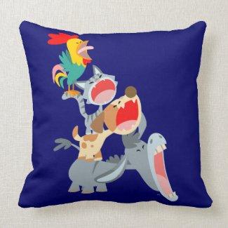 Cute Cartoon Bremen Town Musicians Pillow throwpillow