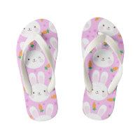 Cute cartoon bunnies and carrots on pink pattern kid's flip flops