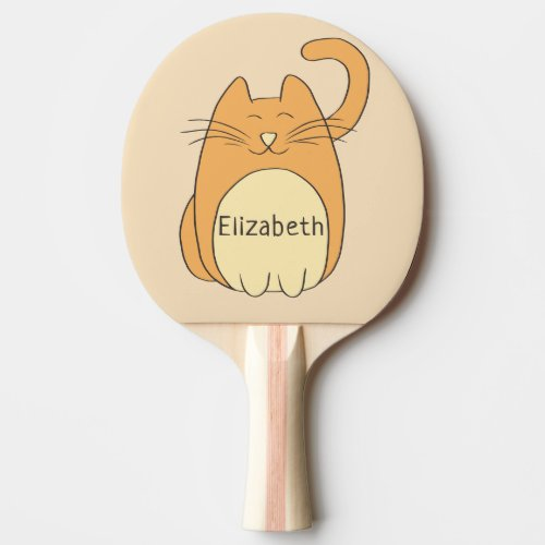 Cute Cartoon Cat Add Name Ping Pong Paddle