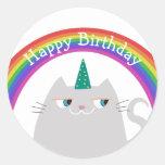 Unicorn Cat & Rainbow Birthday Party Favor Sticker