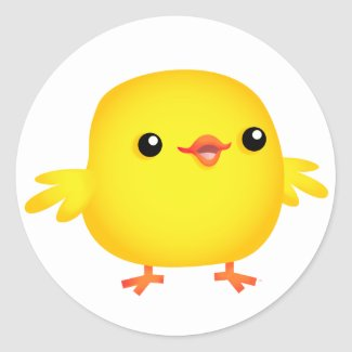 Cute Cartoon Chick :) round sticker sticker