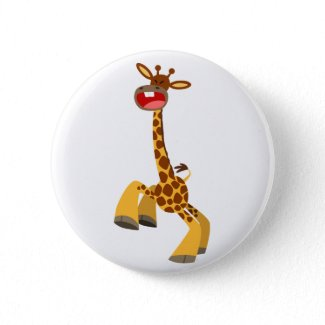 Cute Cartoon Dancing Giraffe Button Badge button