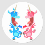 Cute Cartoon Dancing Unicorns Sticker