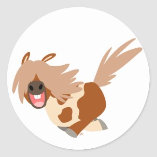 Cute Cartoon Happy Pinto Pony sticker sticker