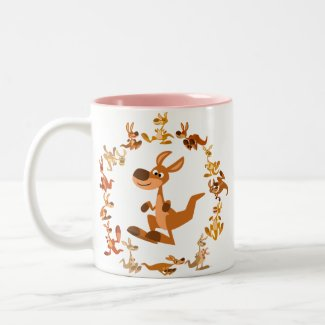 Cute Cartoon Kangaroos Mandala Mug mug