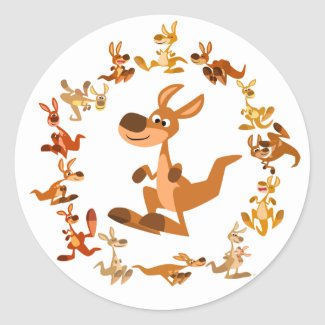 Cute Cartoon Kangaroos Mandala Sticker sticker
