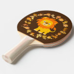 Cute Cartoon Lion Mandala Ping Pong Paddle