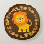 Cute Cartoon Lion Mandala Round Pillow
