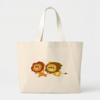 Cute Cartoon Lions in a Hurry Bag