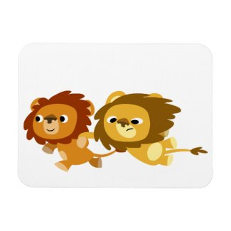 Cute Cartoon Lions in a Hurry Flexible Magnet