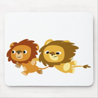 Cute Cartoon Lions in a Hurry Mousepad