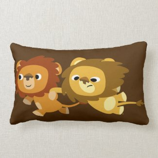 Cute Cartoon Lions in a Hurry Pillow