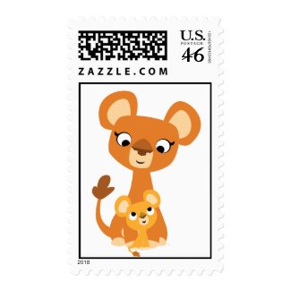 Cute Cartoon Mother Lion and cub postage stamp stamp