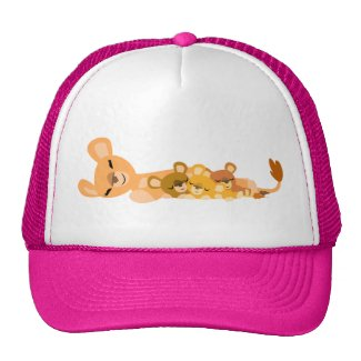 Cute Cartoon Mum Lion and Cubs Hat hat