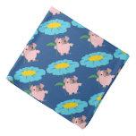 Cute Cartoon Pig With Gift (Blue) Bandana
