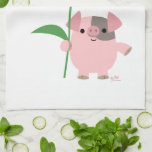 Cute Cartoon Pig With Gift (Blue) Kitchen Towel