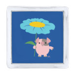 Cute Cartoon Pig With Gift (Blue) Lapel Pin