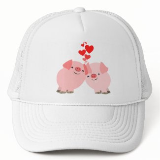 Cute Cartoon Pigs in Love Hat hat