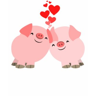 Cute Cartoon Pigs in Love Women T-Shirt shirt
