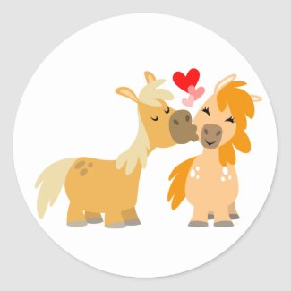 Cute Cartoon Ponies in Love sticker sticker