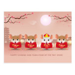 Cute Cartoon Rats for the Chinese New Year Postcard
