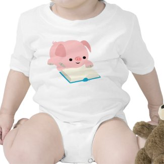 Cute Cartoon Reading Piglet Baby Apprel shirt