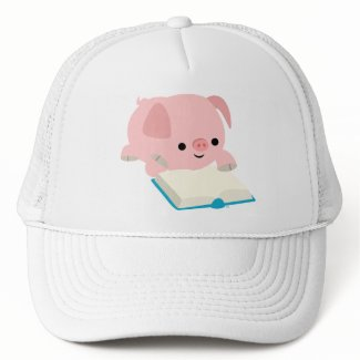 Cute Cartoon Reading Piglet Hat hat