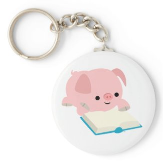Cute Cartoon Reading Piglet Keychain keychain