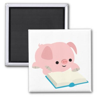 Cute Cartoon Reading Piglet Magnet magnet