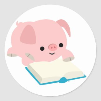 Cute Cartoon Reading Piglet Sticker sticker