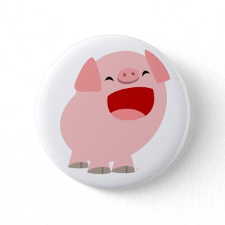 Cute Cartoon Singing Pig Button Badge button